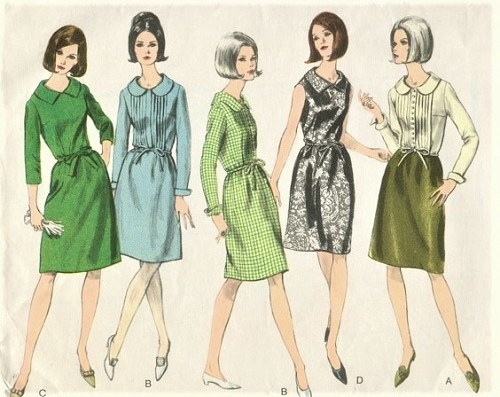 1960s PRETTY Dress Pattern VOGUE 6541 Four Style Versions Bust 36 ...