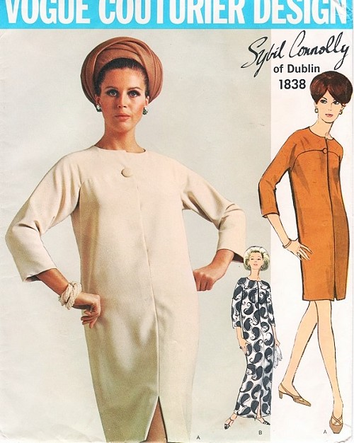 1960s Easy Elegance SYBIL CONNOLLY Dress Pattern VOGUE Couturier Design 1838 Slim Dress in Regular or Evening Length Bust 38 Vintage Sewing Pattern