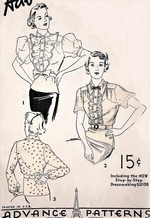 1930s LOVELY Blouse Pattern ADVANCE 1608 Three Beautiful Styles Peplum Overblouses Bust 34 Vintage Sewing Pattern