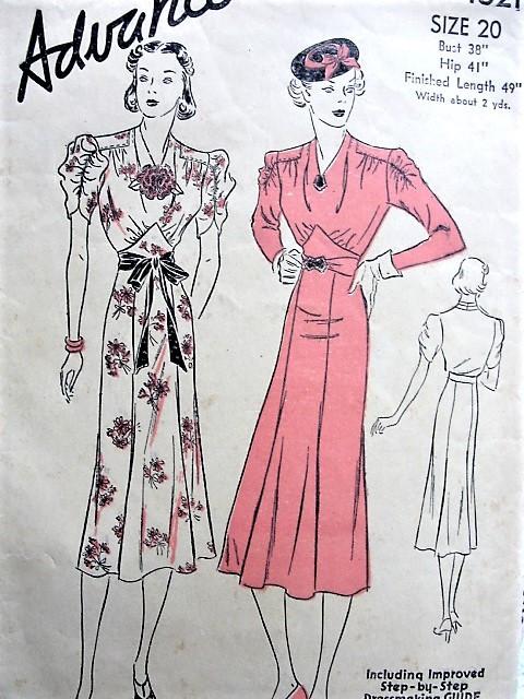 1930s ART DECO Dress Pattern ADVANCE 1821 Shirred Sleeves, Draped ...