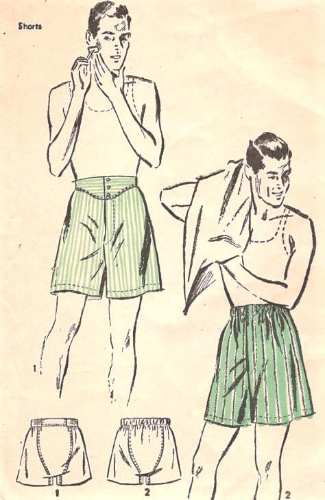 1940s Gentlemens Classic BOXER SHORTS Pattern ADVANCE 2819 Two ...