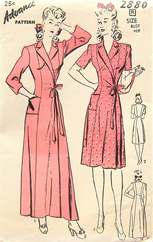 1940s CLASSIC Robe Bathrobe Housecoat Pattern ADVANCE 2880 Side Wrap Lounging Brunch Coat In 2 Lengths Bust 32 Vintage Sewing Pattern FACTORY FOLDED