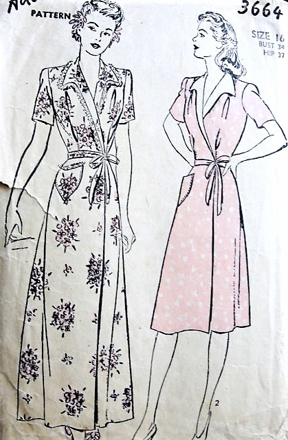 1940s LOVELY Wrap Dress or Housecoat Robe Pattern ADVANCE 3664 WW II Era Figure Flattering Design, Bust 34 Vintage Sewing Pattern