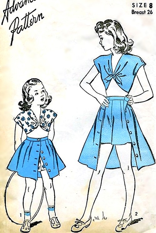 1940s CUTE Little Girls Playsuit Pattern ADVANCE 4159 Front Tie ...