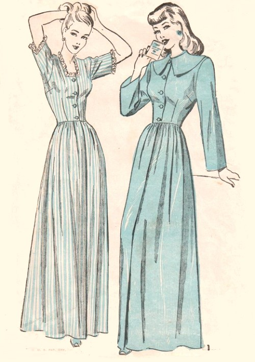 1940s LOVELY Housecoat Robe Brunch Coat Pattern ADVANCE 4732 Two ...