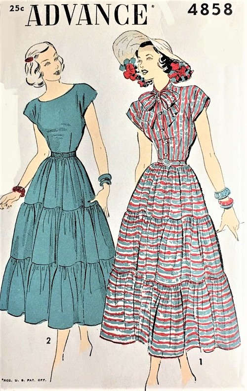 1940s BEAUTIFUL Dress ADVANCE 4858 Two Styles With Tiered Skirt, Cap Sleeves Very Pretty Design,Bust 34 Vintage Sewing Pattern