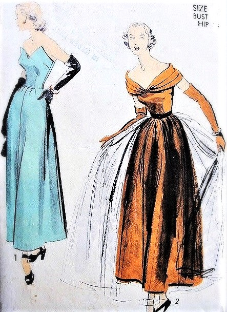 1940s STRIKING Strapless or Portrait Neckline Evening Dress ADVANCE PATTERN 5272 Shaped Strapless Bodice  or Shoulder Draped Optional Overskirt Bust 36 Vintage Sewing Pattern FACTORY FOLDED