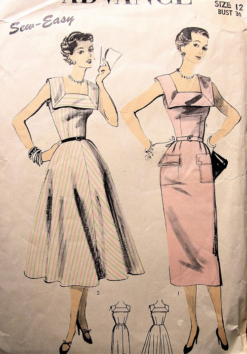 1950s Vintage HAUTE Dress with Square Neckline Full or Slim Skirt Advance 6643 Sewing Pattern Bust 30