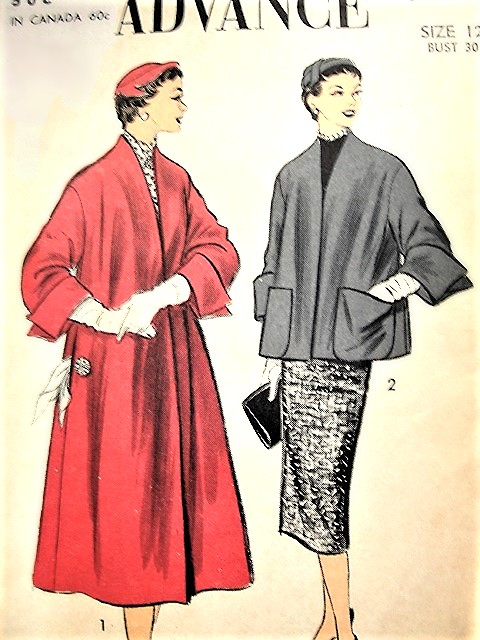 1950s GLAM Swing Back Coat or Jacket Pattern ADVANCE 6834 Lovely Cuffs, Easy To Make  Bust 30 Vintage Sewing Pattern