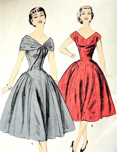 1950s BEAUTIFUL Draped Shoulder Princess Line Cocktail Party Evening Dress Pattern ADVANCE 6993 Two Lovely Styles Special Ocassion Dress Bust 30 Vintage Sewing Pattern FACTORY FOLDED
