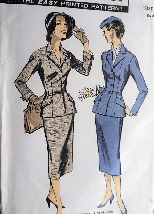 1950s CLASSY Fitted Suit Pattern ADVANCE 7897 Flattering Slim Skirted Suit,Princess Seams,Bust 30 Vintage Sewing Pattern FACTORY FOLDED