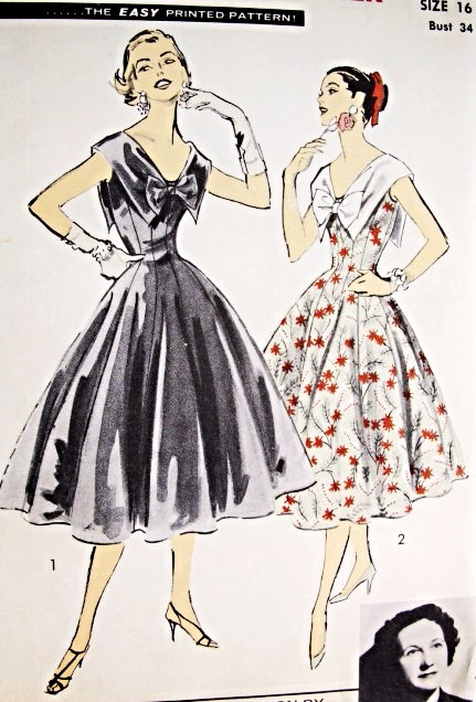 981e51cab5a 1950s Lovely Party Evening Cocktail Dress Pattern Advance American Designer  7930 Stunning Wide Collar Fit n ...