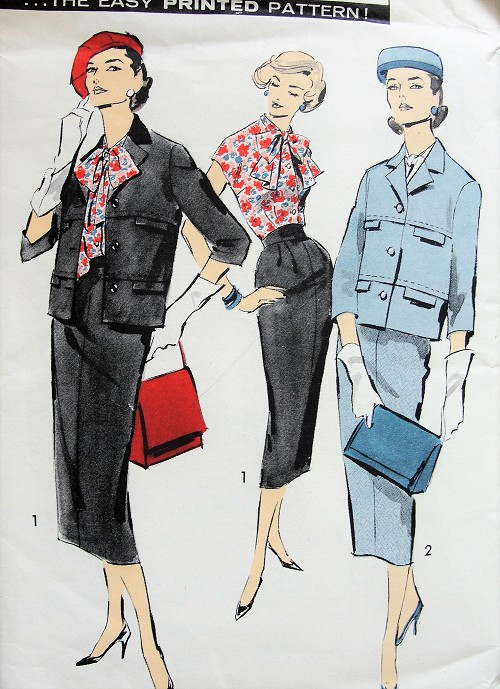 1950s CLASSY Chanel Style Suit and Blouse Pattern ADVANCE 8421 Slim Skirt,Boxy Jacket With Simulated Pocket Flaps,Bow Tie Tuck In Blouse Bust 34 Vintage Sewing Pattern FACTORY FOLDED