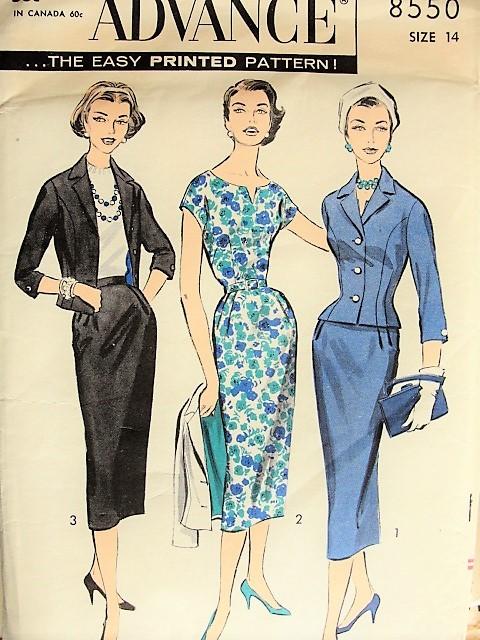 1950s ELEGANT Vintage Dress, Jacket, Suit Sewing Pattern Advance ...