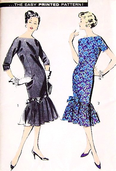 1950s Flirty Chemise Day Or Cocktail Party Dress Pattern Advance