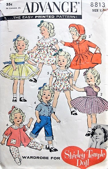 1930s RARE Ideal Toy SHIRLEY TEMPLE DOLL Warobe Advance Pattern 8813 for 17 inch Doll Vintage Sewing Pattern