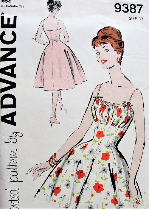 1950s ROCKABILLY Party Cocktail Evening Dress Pattern ADVANCE 9387 Figure Flattering Marilyn Monroe Princess Lines Bust 33 Vintage Sewing Pattern FACTORY FOLDED