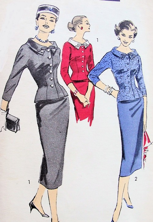 CHIC 1950s Two Piece Dress Pattern ADVANCE 8207 Pencil Slim Skirt Slim Fitted Nip In Waist  Stand Away Collar Jacket Two Style Versions Bust 32 Vintage Sewing Pattern FACTORY FOLDED