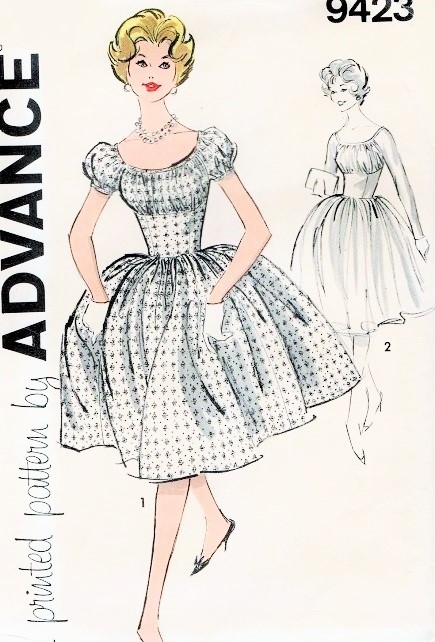 1960 Dazzling Party Evening Cocktail Dress Pattern Advance 9423 ...