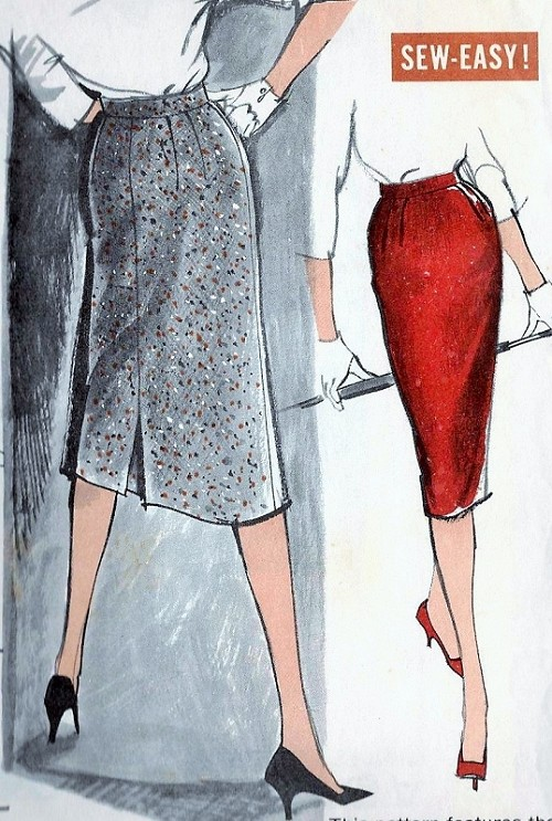 1960 Pencil Slim Skirt Pattern Sew Easy Advance 9498 Vintage Sewing Pattern Very Mad Men Style Waist 28 UNCUT FACTORY FOLDED