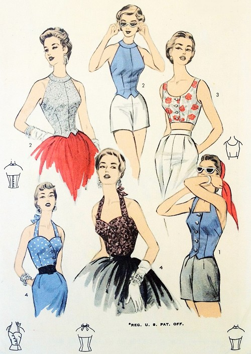 1950s FABULOUS Halter Tops Pattern ADVANCE 6689 Four Bombshell Styles Day Beach and Evening Bust 34 Vintage Sewing Pattern
