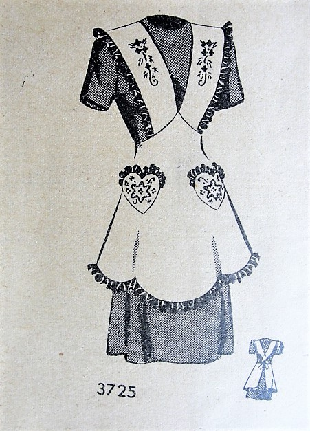 1940s Vintage PRETTY Apron with Heart Shaped Pockets American Weekly 3725 Sewing Pattern