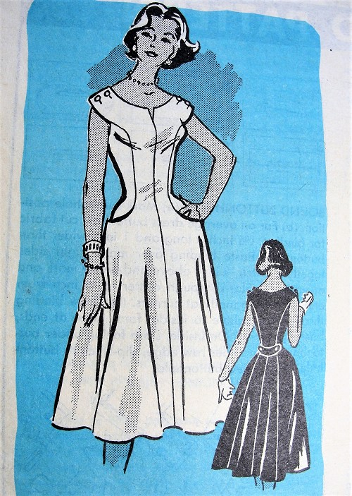 1950s BEAUTIFUL Party Dress Pattern ANNE ADAMS 4578 Figure Flattery Design Bust 36 Vintage Sewing Pattern