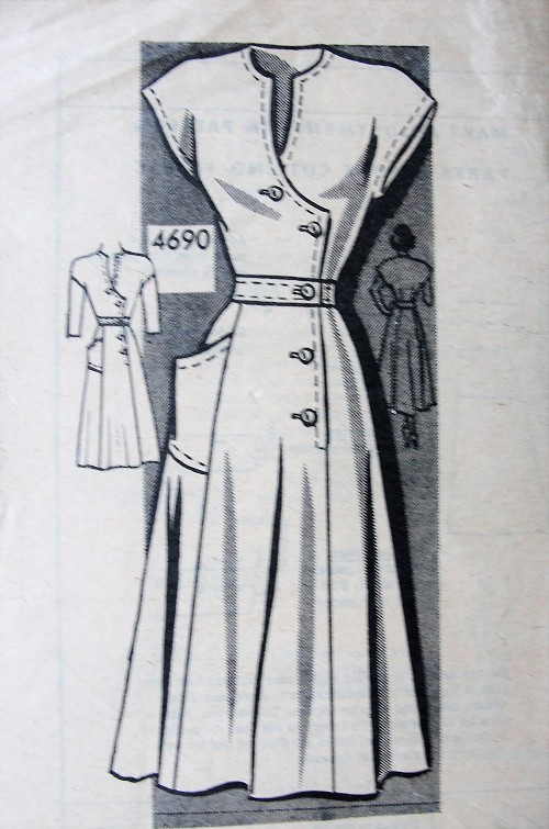1940s LOVELY Dress Pattern ANNE ADAMS 4690 Surplice Bodice Side Closing Dress Bust 30 Vintage Sewing Pattern FACTORY FOLDED