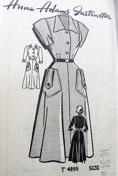1940s Vintage SMART Dress with Pockets Anne Adams 4855 Sewing Pattern Bust 34