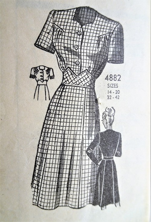 1940s Vintage WAR TIME Button Up Dress with Short or Long Sleeves Anne Adams 4882 Sewing Pattern Bust 34