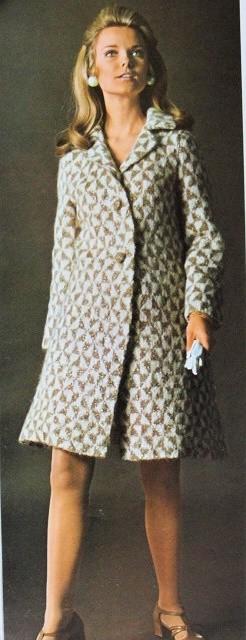 Instant Pdf Pattern 1960s Elegant Vintage Houndstooth Coat Knitting