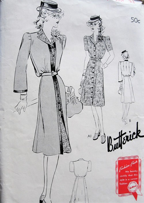 1940s Vintage CLASSY Button Up Dress and Matching Full Length Coat and Belt Butterick 1038 Sewing Pattern Bust 32