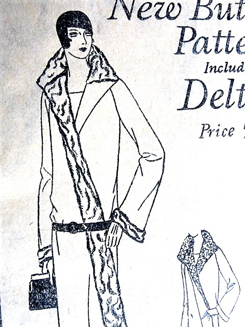 1920s ART DECO Coat Pattern BUTTERICK 2149 Classic 20s Slim Coat Bell Sleeved, Large Wing Collar, 3 Versions Bust 33 Vintage Sewing Pattern FACTORY FOLDED