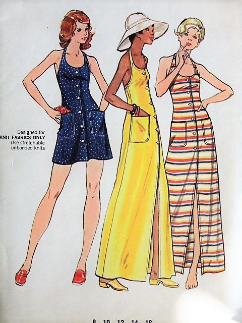 1970s Retro FLIRTY Long Maxi or Short Button Up Halter Dress Butterick 3153 Bust 36 Vintage Sewing Pattern