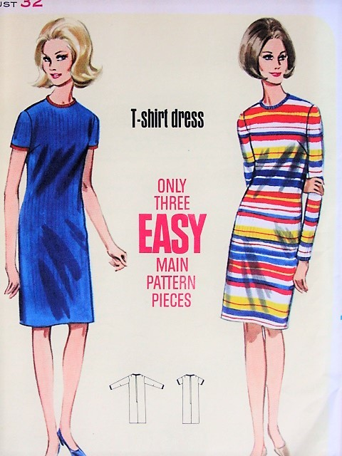 1960s MOD T-Shirt Dress Butterick 4258 Bust 32 Vintage Sewing Pattern