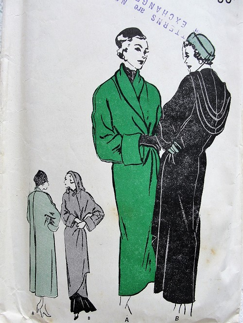 1940s AMAZING Wrapped Coat Pattern BUTTERICK 4712 Day Version Kimono Sleeved,Shawl Collar Deep Cuffs, Evening Flattering Hood, Draped Cowl Back Bust 32 Vintage Sewing Pattern