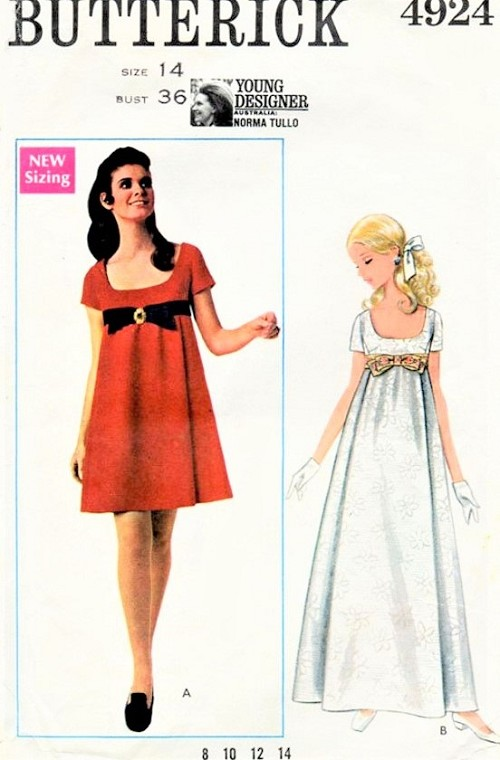 1960s MOD Norma Tullo Designer Evening Prom Party Dress Pattern BUTTERICK 4924 Mini or Evening Length Low Cut Empire Dress Bust 36 Vintage Sewing Pattern