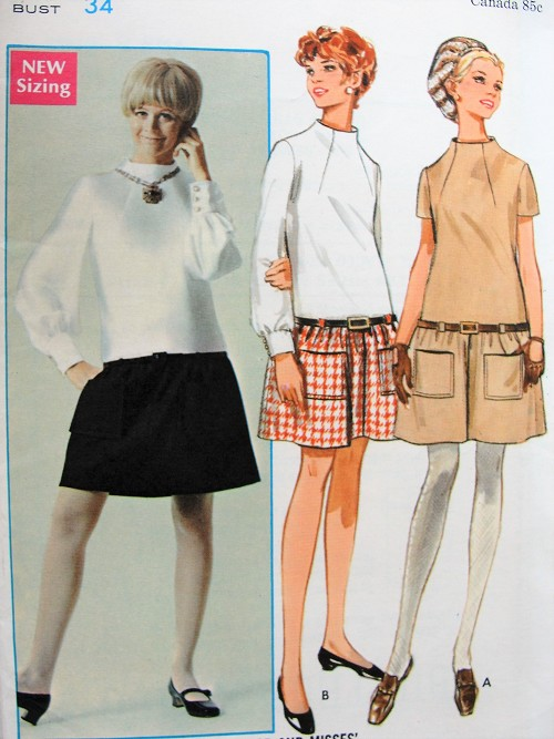 Vintage 1960s MOD Low Waisted Dress with Gathered Skirt Butterick 5190 Sewing Pattern Bust 34