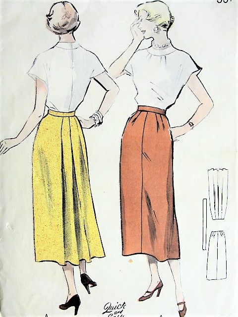 1950s ELEGANT Four Gore Skirt Pattern BUTTERICK 5234 Features Back Interest Waist 26 Quick n Easy Vintage Sewing Pattern