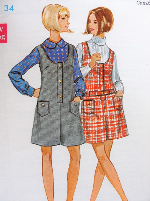 1960s CUTE Pant Jumper Dress Pattern BUTTERICK 5352 Two Mod 60s Styles Scoop Neckline Bust 36 Vintage Sewing Pattern FACTORY FOLDED