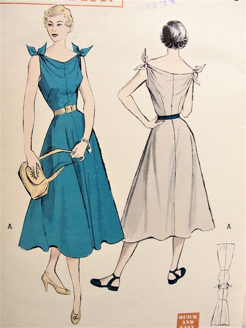 1950s FLIRTY Day or Party Dress Pattern BUTTERICK 5366 Quick and Easy Full Skirt Dress,  Shoulder Wing Tipped Bow Knots,Flattering Neckline Bust 30 Vintage Sewing Pattern