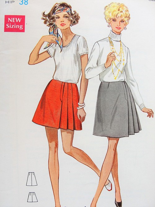 1960s MOD Skirt Pattern BUTTERICK 5371 Mini or Above Knee Lengths, Cute Side Pleated Waist 24 Vintage Sewing Pattern FACTORY FOLDED