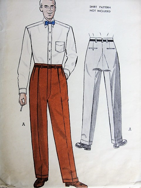Vintage 1950s CLASSIC Mens Tailored Pants Butterick 5545 Sewing Pattern Waist 30