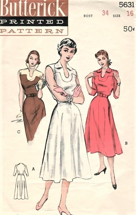 1950s FABULOUS Yoked KEYHOLE Dress Pattern BUTTERICK 5631 Three ...