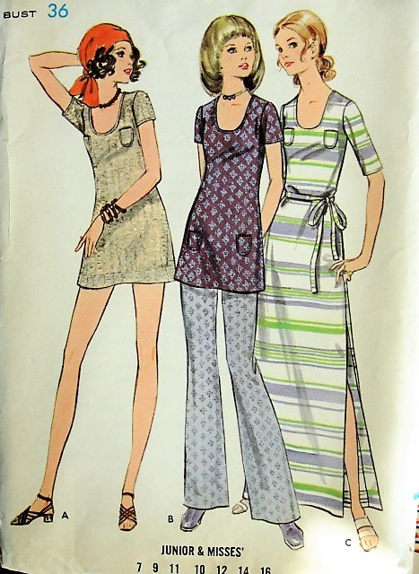 1960s Vintage MOD Dress in Two Lengths and Pants Butterick 5770 Sewing Pattern Bust 36