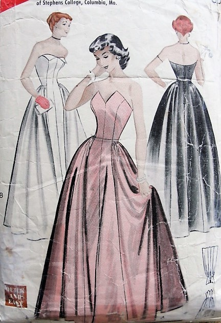 1950s BEAUTIFUL Formal Evening Gown Pattern BUTTERICK 5901 Susie Stephens Design Straplesss Dress,Quick n Easy Bare Top Formal Prom Dress Bust 31 Vintage Sewing Pattern