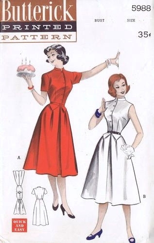 1950s FLIRTY Dress Pattern BUTTERICK 5988 Two Perky Style Versions Weskit Effect Bust 34 Vintage Sewing Pattern FACTORY FOLDED