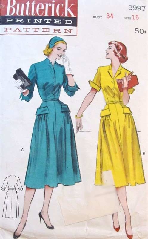 1950s WING Tip Cuffed Dress Pattern BUTTERICK 5997 Two Fab Style Versions Day or After Five Dress Bust 34 Vintage Sewing Pattern FACTORY FOLDED