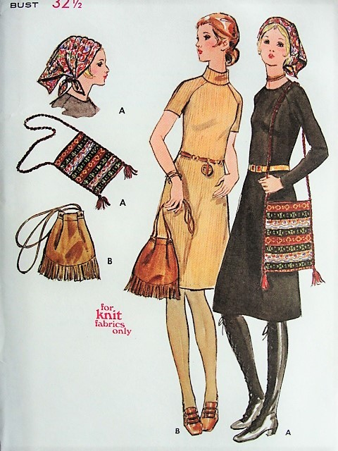 1960s Retro Knit Dress Scarf Purse Butterick 6018 Bust 32 12
