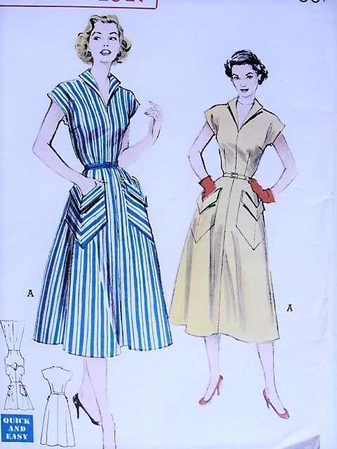 1950s EFFORTLESS Casual Dress with Oversized Pockets Butterick 6020 Bust 32 Vintage Sewing Pattern